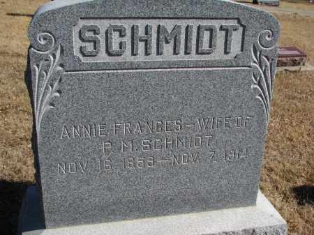 SCHMIDT, ANNIE FRANCES - Cedar County, Nebraska | ANNIE FRANCES SCHMIDT - Nebraska Gravestone Photos