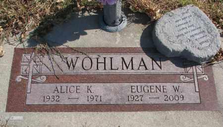 WOHLMAN, EUGENE W. - Cedar County, Nebraska | EUGENE W. WOHLMAN - Nebraska Gravestone Photos