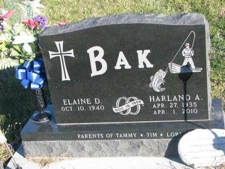 BAK, HARLAND A. - Cuming County, Nebraska   HARLAND A. BAK - Nebraska Gravestone Photos