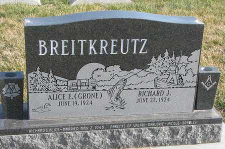 BREITKREUTZ, ALICE E. - Cuming County, Nebraska | ALICE E. BREITKREUTZ - Nebraska Gravestone Photos