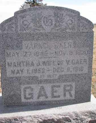 GAER, MARTHA J. - Cuming County, Nebraska   MARTHA J. GAER - Nebraska Gravestone Photos