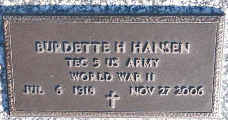 HANSEN, BURDETTE H. - Cuming County, Nebraska | BURDETTE H. HANSEN - Nebraska Gravestone Photos