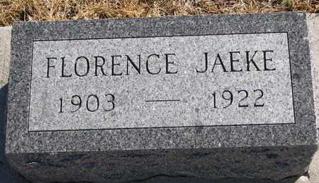 JAEKE, FLORENCE - Cuming County, Nebraska   FLORENCE JAEKE - Nebraska Gravestone Photos