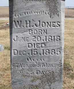 JONES, W.H. (CLOSEUP) - Cuming County, Nebraska | W.H. (CLOSEUP) JONES - Nebraska Gravestone Photos