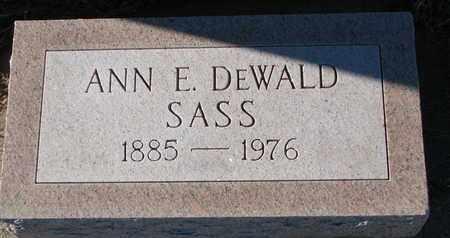 SASS, ANN E. - Cuming County, Nebraska | ANN E. SASS - Nebraska Gravestone Photos
