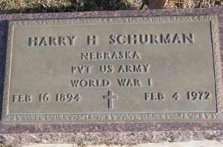 SCHURMAN, HARRY H. - Cuming County, Nebraska   HARRY H. SCHURMAN - Nebraska Gravestone Photos