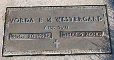 WESTERGARD, VORDA E.M. - Cuming County, Nebraska   VORDA E.M. WESTERGARD - Nebraska Gravestone Photos