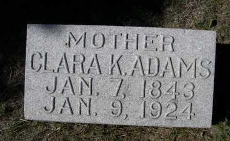 ADAMS, CLARA K. - Dawes County, Nebraska | CLARA K. ADAMS - Nebraska Gravestone Photos