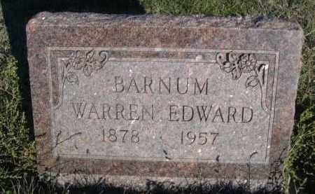 BARNUM, WARREN EDWARD - Dawes County, Nebraska   WARREN EDWARD BARNUM - Nebraska Gravestone Photos