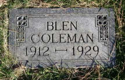 COLEMAN, BLEN - Dawes County, Nebraska | BLEN COLEMAN - Nebraska Gravestone Photos