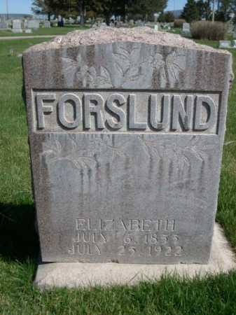 FORSLUND, ELIZABETH - Dawes County, Nebraska   ELIZABETH FORSLUND - Nebraska Gravestone Photos