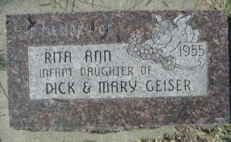GEISER, RITA ANN - Dawes County, Nebraska | RITA ANN GEISER - Nebraska Gravestone Photos