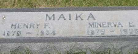 MAIKA, MINERVA E. - Dawes County, Nebraska | MINERVA E. MAIKA - Nebraska Gravestone Photos