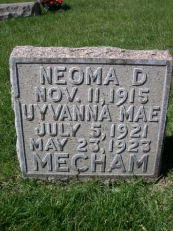 MECHAM, UYVANNA MAE - Dawes County, Nebraska   UYVANNA MAE MECHAM - Nebraska Gravestone Photos