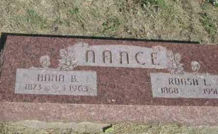 NANCE, RONSH L. - Dawes County, Nebraska   RONSH L. NANCE - Nebraska Gravestone Photos