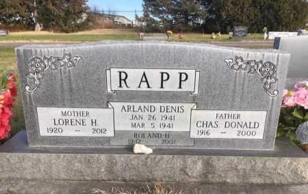 RAPP, CHAS DONALD - Dawes County, Nebraska | CHAS DONALD RAPP - Nebraska Gravestone Photos