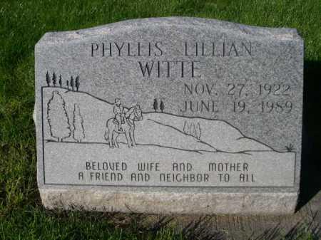 WITTE, PHYLLIS LILLIAN - Dawes County, Nebraska | PHYLLIS LILLIAN WITTE - Nebraska Gravestone Photos