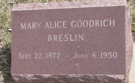 GOODRICH BRESLIN, MARY ALICE - Dixon County, Nebraska | MARY ALICE GOODRICH BRESLIN - Nebraska Gravestone Photos