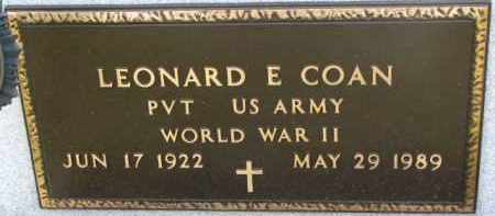 COAN, LEONARD E. (WW II MARKER) - Dixon County, Nebraska | LEONARD E. (WW II MARKER) COAN - Nebraska Gravestone Photos