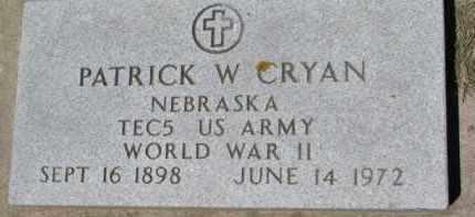 CRYAN, PATRICK W. (WW II MARKER) - Dixon County, Nebraska | PATRICK W. (WW II MARKER) CRYAN - Nebraska Gravestone Photos