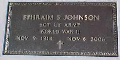 JOHNSON, EPHRAIM S. (WW II MARKER) - Dixon County, Nebraska   EPHRAIM S. (WW II MARKER) JOHNSON - Nebraska Gravestone Photos