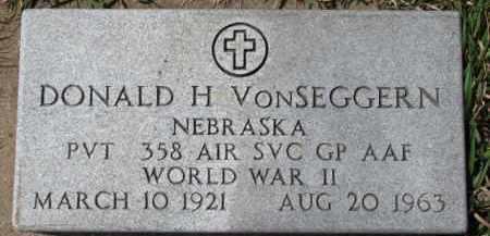 VONSEGGERN, DONALD H. (WW II MARKER) - Dixon County, Nebraska | DONALD H. (WW II MARKER) VONSEGGERN - Nebraska Gravestone Photos