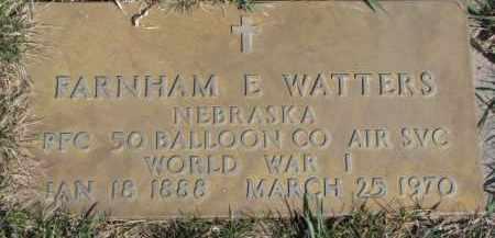 WATTERS, FARNHAM E. (WW I MARKER) - Dixon County, Nebraska   FARNHAM E. (WW I MARKER) WATTERS - Nebraska Gravestone Photos