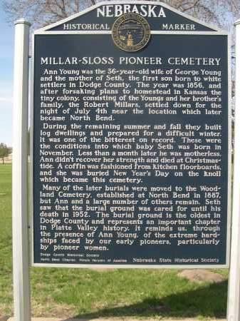 *MILLAR-SLOSS PIONEER CEMETERY, HISTORICAL SIGN - Dodge County, Nebraska | HISTORICAL SIGN *MILLAR-SLOSS PIONEER CEMETERY - Nebraska Gravestone Photos