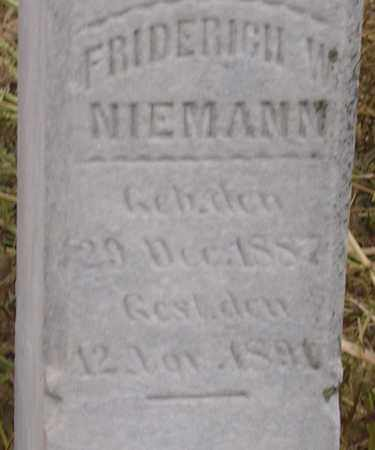 NIEMANN, FRIDERICH W - Dodge County, Nebraska | FRIDERICH W NIEMANN - Nebraska Gravestone Photos