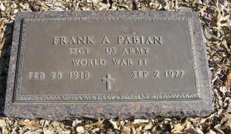 PABIAN, FRANK A. (MILITARY MARKER) - Dodge County, Nebraska | FRANK A. (MILITARY MARKER) PABIAN - Nebraska Gravestone Photos