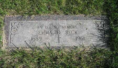 BECK, EMMA D - Douglas County, Nebraska | EMMA D BECK - Nebraska Gravestone Photos