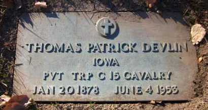 DEVLIN, THOMAS PATRICK - Douglas County, Nebraska | THOMAS PATRICK DEVLIN - Nebraska Gravestone Photos