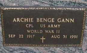 GANN, ARCHIE BENGE - Douglas County, Nebraska | ARCHIE BENGE GANN - Nebraska Gravestone Photos