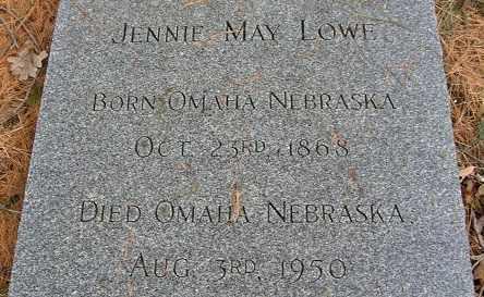 PATRICK LOWE, JENNIE MAY - Douglas County, Nebraska | JENNIE MAY PATRICK LOWE - Nebraska Gravestone Photos
