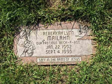 MAILAHN, REBEKKAH - Douglas County, Nebraska   REBEKKAH MAILAHN - Nebraska Gravestone Photos