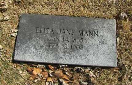 MANN, ELIZABETH JANE - Douglas County, Nebraska | ELIZABETH JANE MANN - Nebraska Gravestone Photos