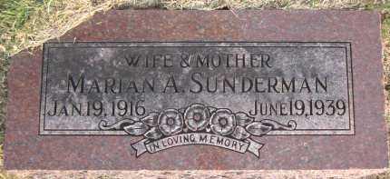 SUNDERMAN, MARIAN A. - Douglas County, Nebraska | MARIAN A. SUNDERMAN - Nebraska Gravestone Photos