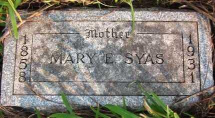 SYAS, MARY E. - Douglas County, Nebraska | MARY E. SYAS - Nebraska Gravestone Photos