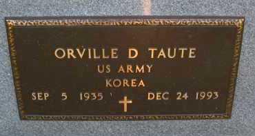 TAUTE, ORVILLE D. - Douglas County, Nebraska | ORVILLE D. TAUTE - Nebraska Gravestone Photos