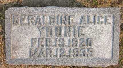YOUNIE, GERALDINE ALICE - Douglas County, Nebraska | GERALDINE ALICE YOUNIE - Nebraska Gravestone Photos
