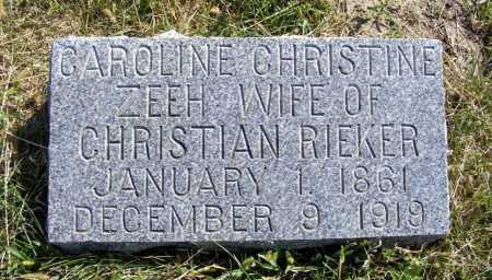 RIEKER, CAROLINE CHRISTINE - Frontier County, Nebraska   CAROLINE CHRISTINE RIEKER - Nebraska Gravestone Photos