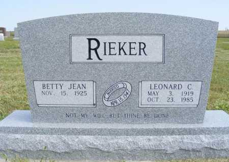 RIEKER, BETTY JEAN - Frontier County, Nebraska | BETTY JEAN RIEKER - Nebraska Gravestone Photos