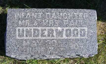 UNDERWOOD, INFANT DAUGHTER - Frontier County, Nebraska | INFANT DAUGHTER UNDERWOOD - Nebraska Gravestone Photos