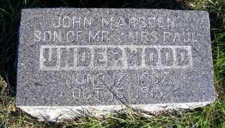 UNDERWOOD, JOHN MARSDEN - Frontier County, Nebraska | JOHN MARSDEN UNDERWOOD - Nebraska Gravestone Photos