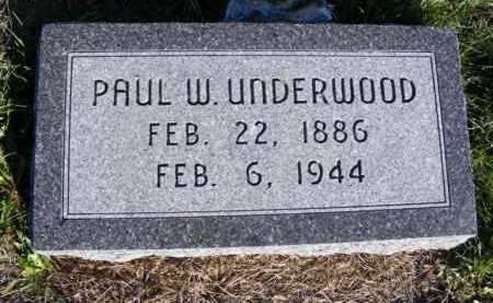 UNDERWOOD, PAUL W. - Frontier County, Nebraska | PAUL W. UNDERWOOD - Nebraska Gravestone Photos