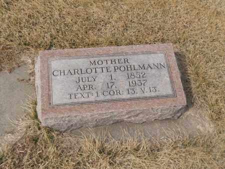 POHLMANN, CHARLOTTE - Gage County, Nebraska | CHARLOTTE POHLMANN - Nebraska Gravestone Photos