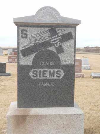 SIEMS, CLAUS LOT STONE - Gage County, Nebraska   CLAUS LOT STONE SIEMS - Nebraska Gravestone Photos