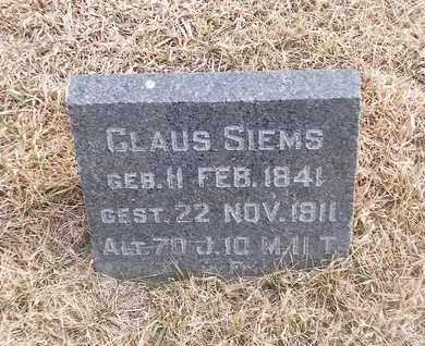 SIEMS, CLAUS - Gage County, Nebraska   CLAUS SIEMS - Nebraska Gravestone Photos