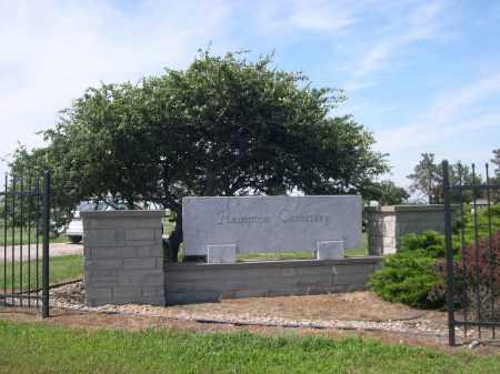 *HAMPTON CEMETERY, ENTRANCE SIGN - Hamilton County, Nebraska | ENTRANCE SIGN *HAMPTON CEMETERY - Nebraska Gravestone Photos