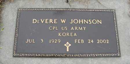 JOHNSON, DEVERE W. (MILITARY MARKER) - Knox County, Nebraska   DEVERE W. (MILITARY MARKER) JOHNSON - Nebraska Gravestone Photos